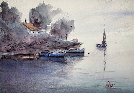 Calm morning and boats