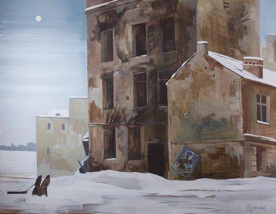Leningrad winter - war, home interior, original art, Patriotic, Piter
