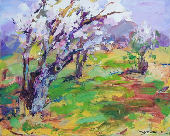 Spring wind. Blooming trees and garden. Original oil painting