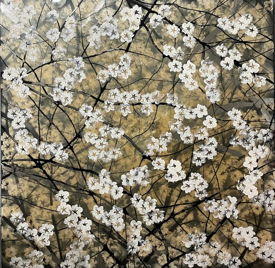 Original Painting - Cherry Blossom Resin art on large canvas - wall art - Radiant Bloom
