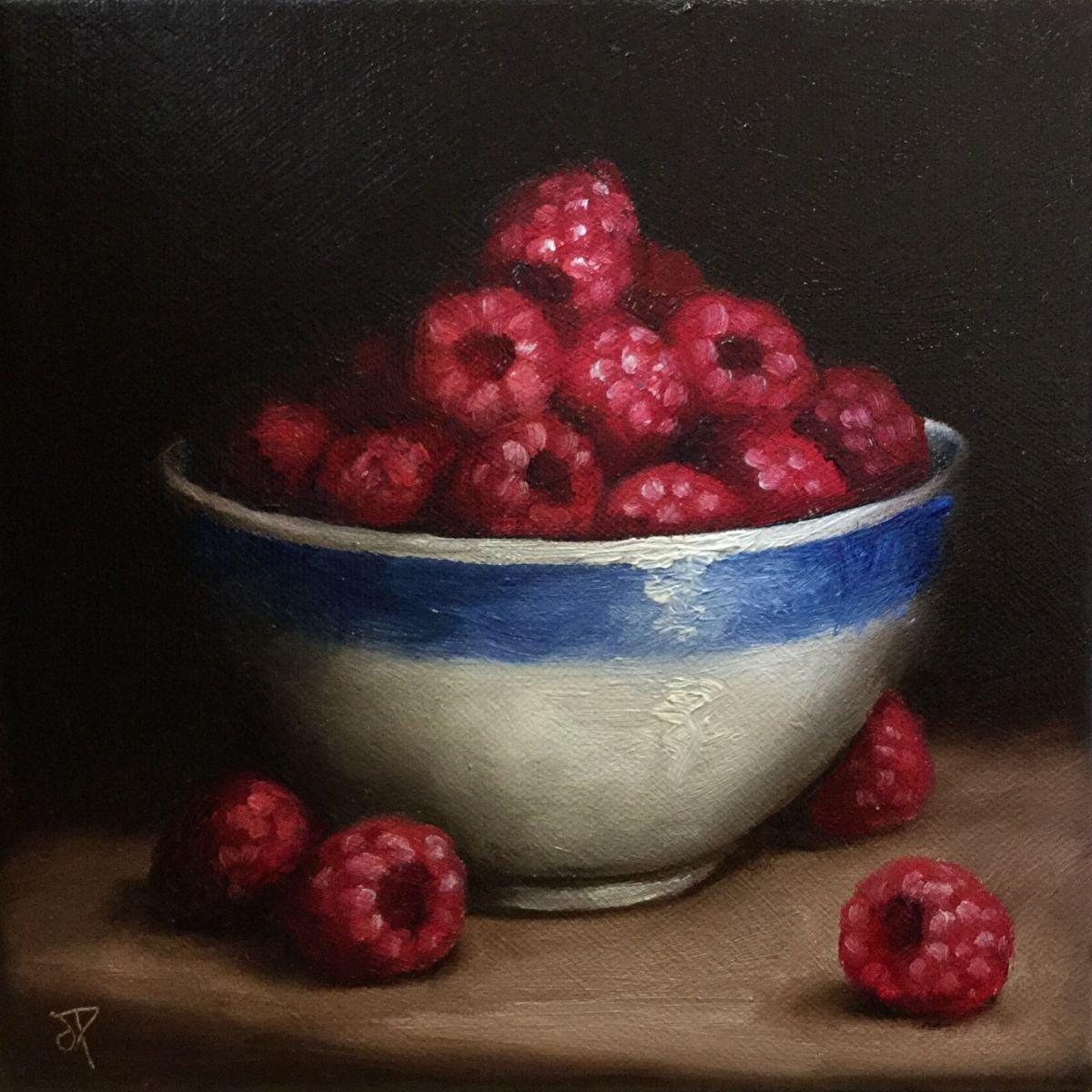 Bowl of Raspberries by Jane Palmer Art   Artfinder