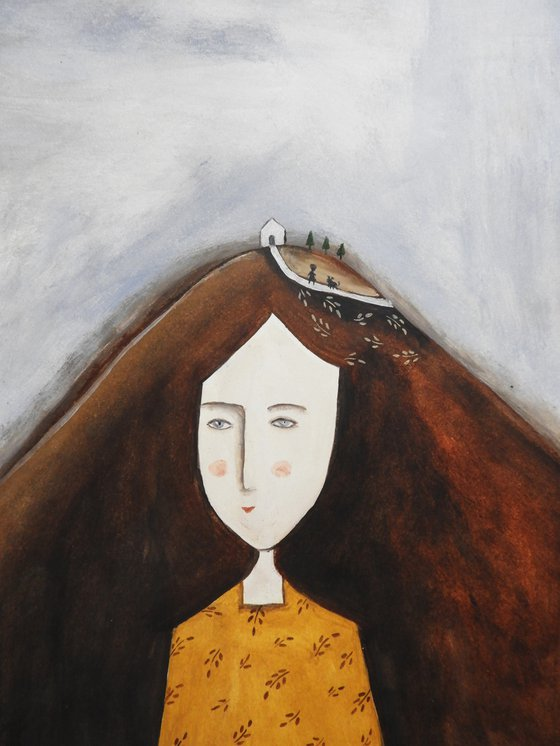 Mountain woman  - oil on paper