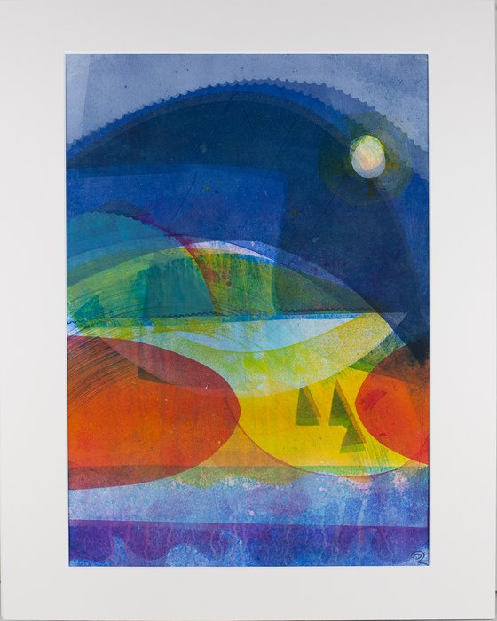 """Moon Glow - Mounted and Backed 50cm (20"""") x 40 cm (16"""") Original Signed Monotype"""