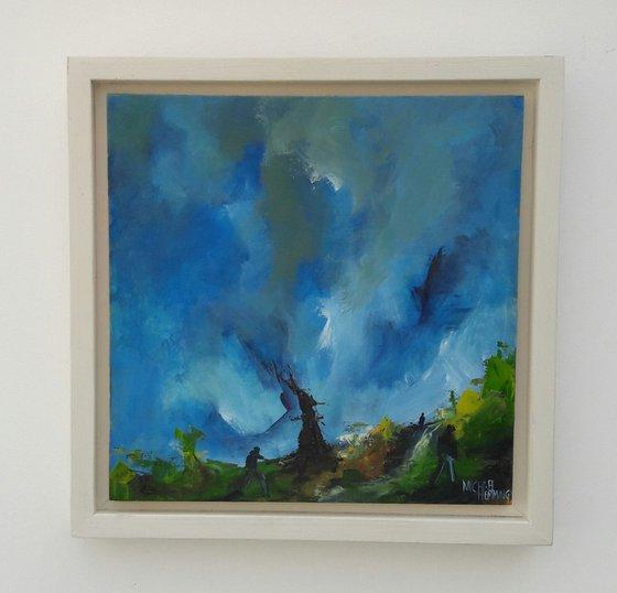 Framed original oil painting on panel 'Manhunt' by Michael Hemming