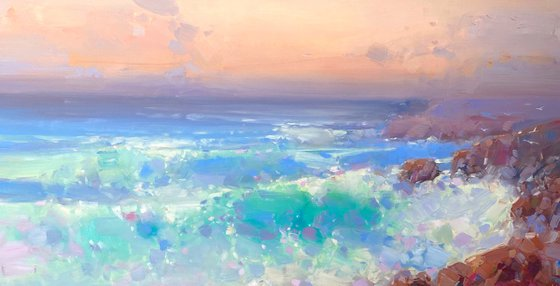 Sunset, Original oil painting, Handmade artwork, One of a kind