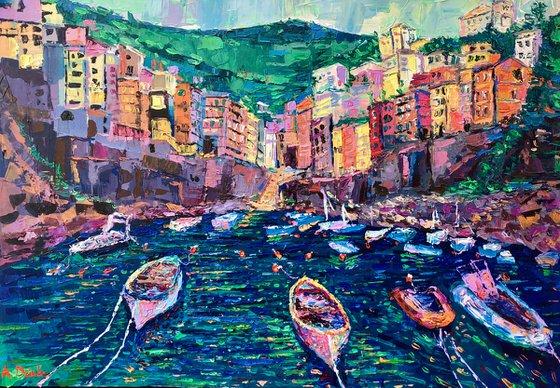 Fishing Boats of Riomaggiore - palette knife Cinque Terre seascape