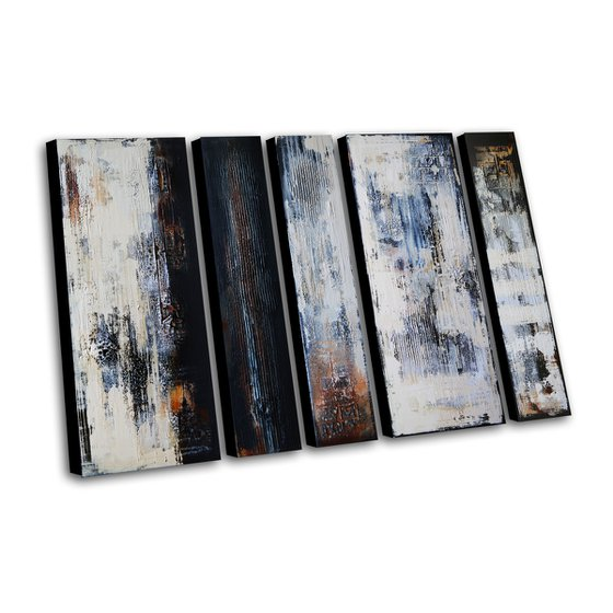 BLACK FIELDS - ABSTRACT ACRYLIC PAINTING TEXTURED * READY TO HANG
