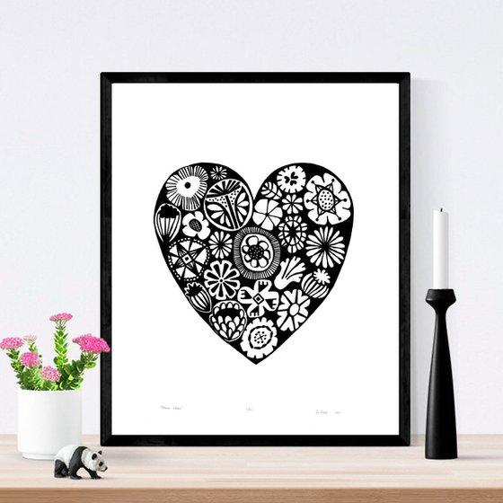 Flower Heart in Black  - Framed - FREE UK Delivery