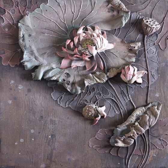 ENLIGHTENMENT * Sculpture painting flower from plaster * Palette knife
