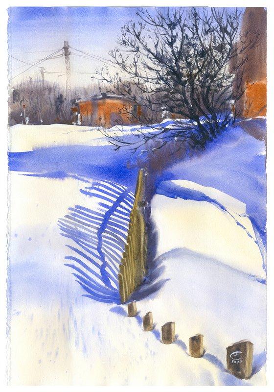 February. Etude with blue shadows.