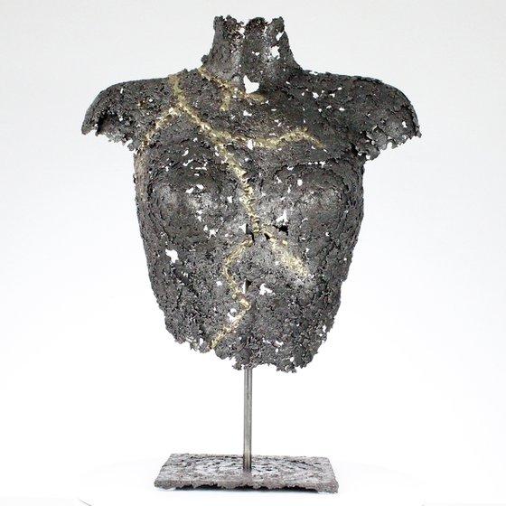 Belisama Lutchia - Female bust metal sculpture steel brass