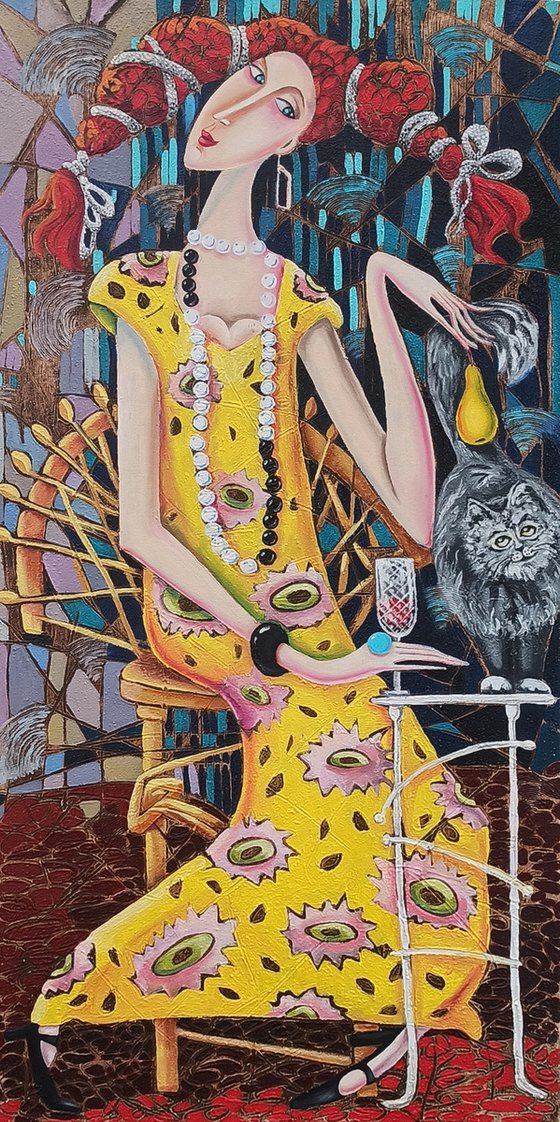 Girl with the cat (40x80cm, oil painting, modern art)