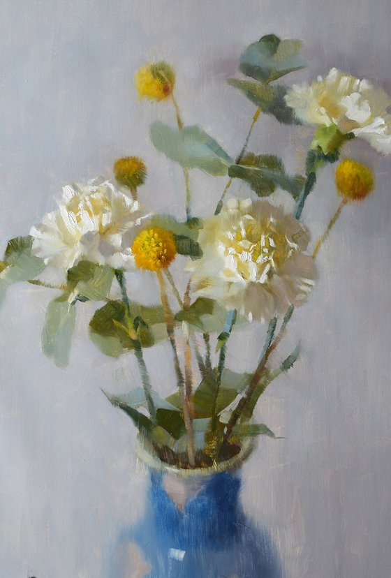 'Carnations, Eucalyptus and Crespedia' - original oil painting, alla prima oil painting, one of a kind
