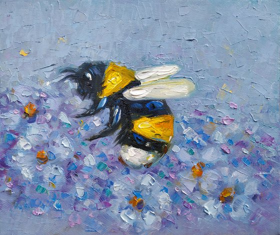 Small pictures series -40- Bee- 3(24x20cm, oil painting, ready to hang)