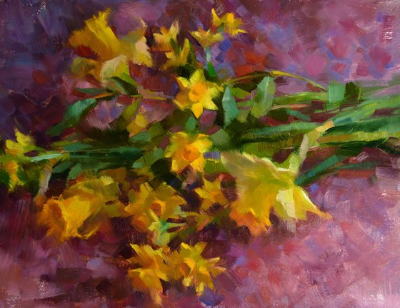 'Narcissus and Daffodils' - original oil painting, alla prima oil painting, one of a kind