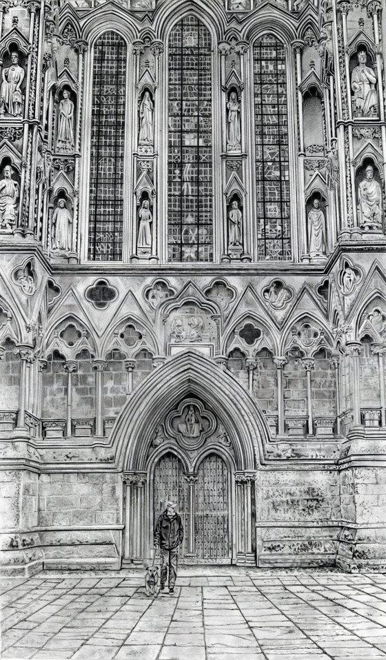 Dog Walker at Wells Cathedral - Pencil Drawing
