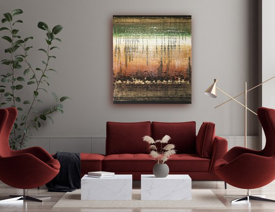 Looking back. Large abstract painting.
