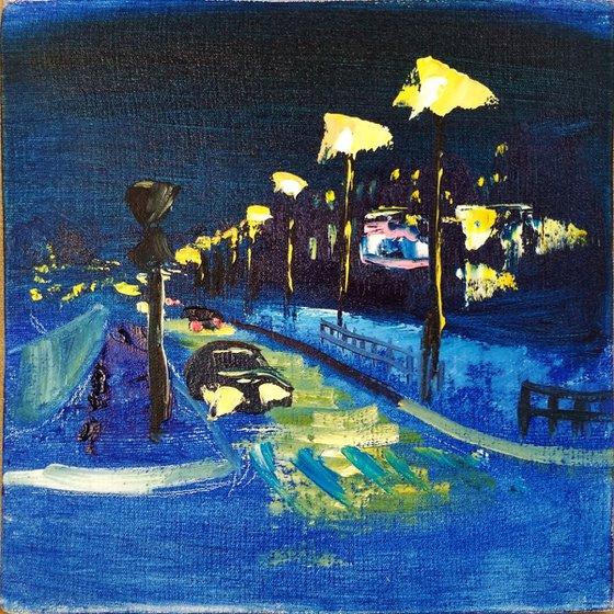 Summer Night in The City. Pleinair painting