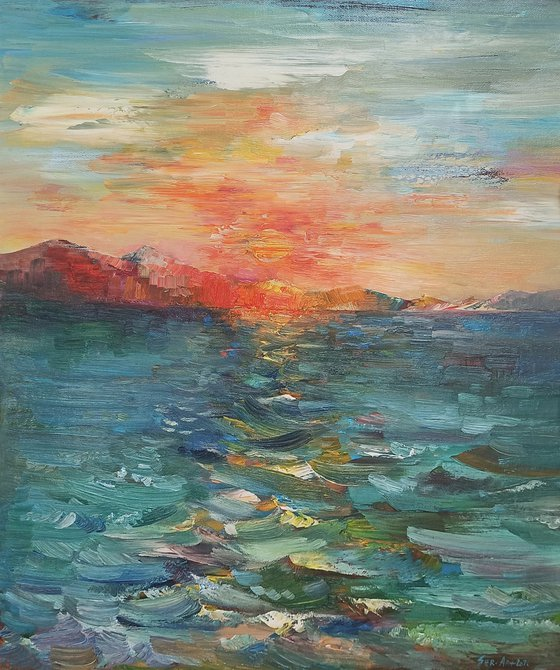 Lake Sevan (60x50cm, oil painting, ready to hang)