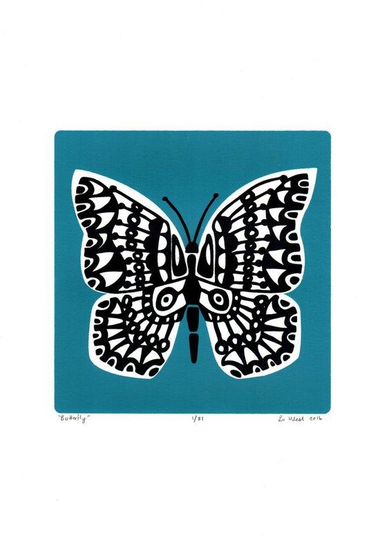 Butterfly in Slate Teal - Unframed - FREE Worldwide Delivery