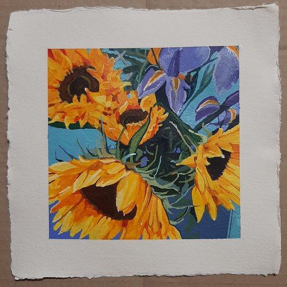 Sunflowers with Irises