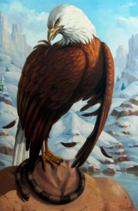 White-headed eagle 60x80cm, oil painting, surrealistic artwork