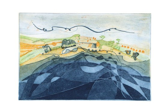"""Heike Roesel """"Land and Sea"""", fine art etching, edition of 20 in variation"""