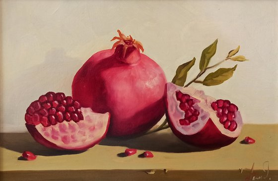 Still life with pomegranate (20x30cm, oil painting, ready to hang)