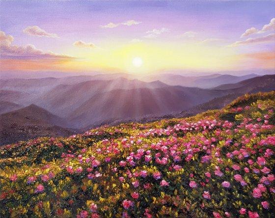 """Sunny evening"", oil landscape painting, palette knife scenery art"