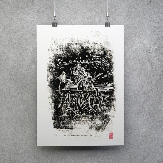 Do you hear that thunder- live music- linocut print