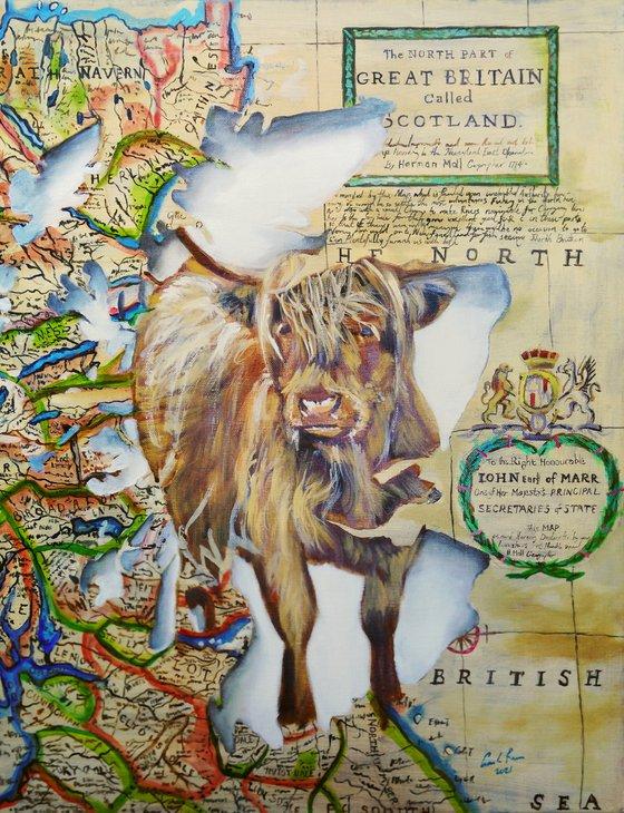 Highland cow, Spirit of Scotland painting