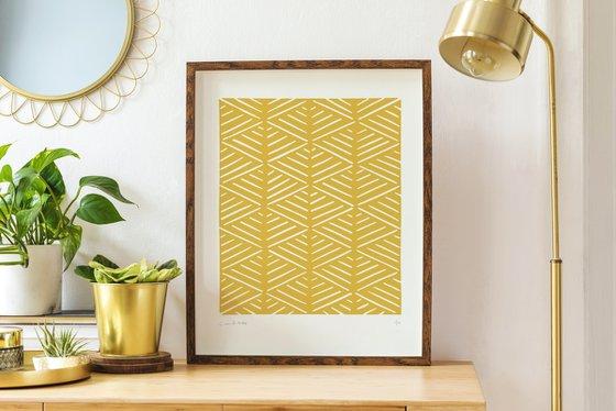 Heikōsen (Yellow Geometric Linocut Print)