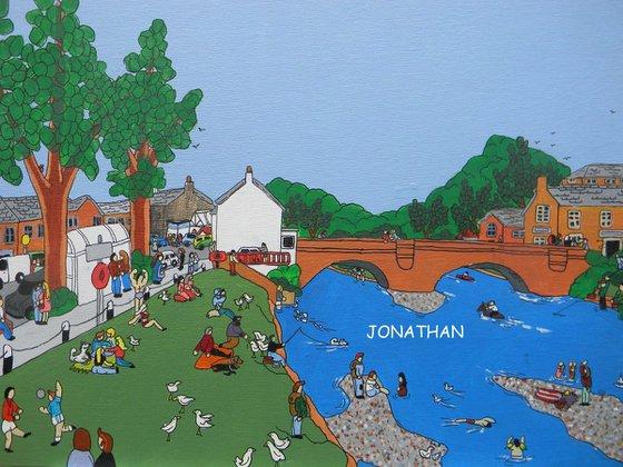original naive country style acrylic painting Applebe bridge Cumbria England U.K