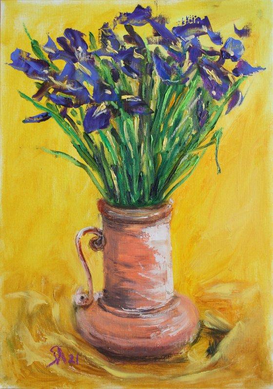 Irises in a Clay Vase I /  ORIGINAL PAINTING