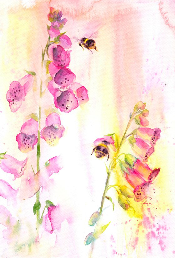 Foxgloves and bumblebees, original watercolour painting