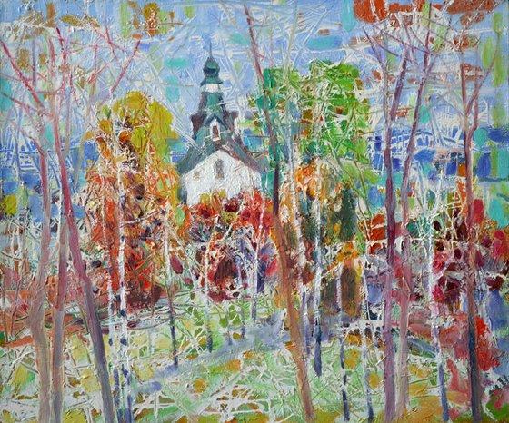 Spring theme. Church in Sednev