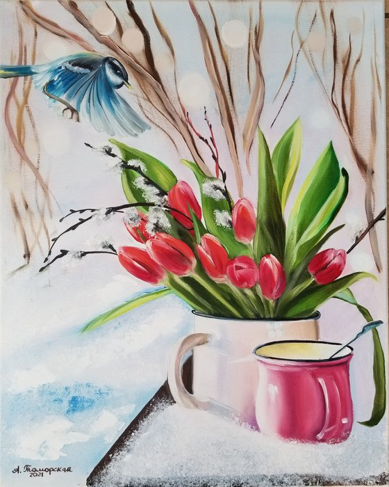 Tulips. Mothers Day Gift. Gift for Mom. Spring landscape. Wall Art. Spectacular Oil Painting on Canvas. Home Decor.