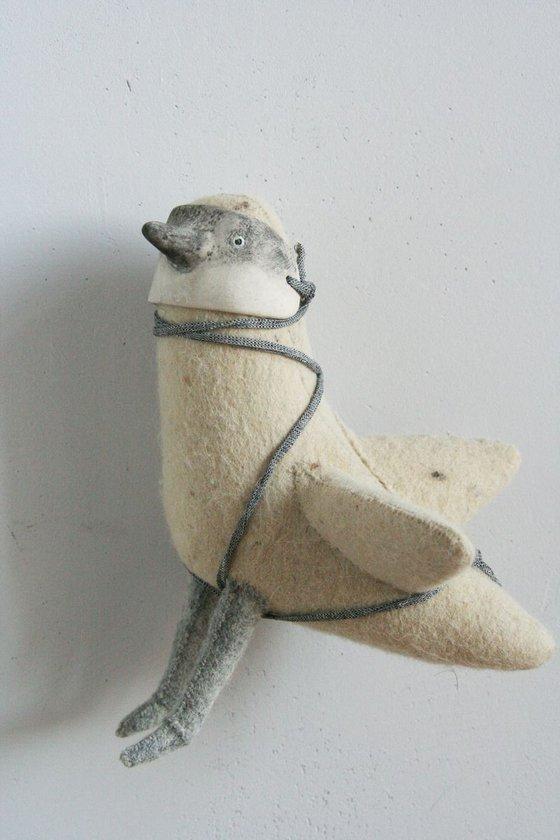 art doll ooak, cute doll, Sebastian bird in bird mask, interior doll, collectible doll