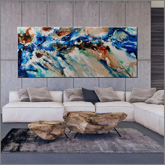 Natures Vice 240cm x 100cm Blue Cream Textured Abstract Art