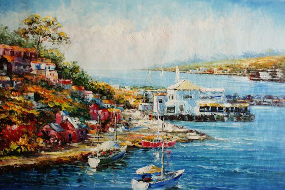 """""""Boats in the bay of"""" Canvas / oil. Size 60x90 cm."""