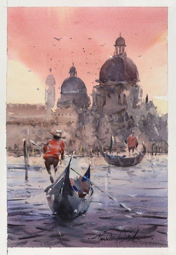 Purple red Venice watercolor painting, Aquarelle art,
