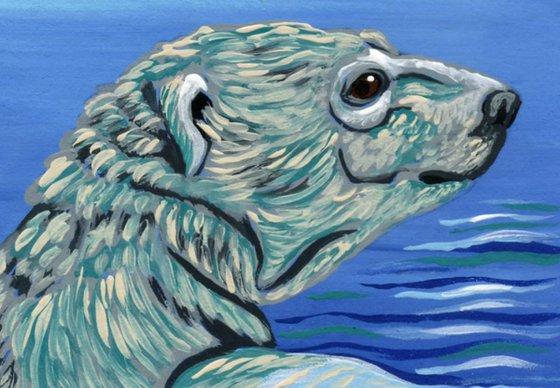 ACEO ATC Original Miniature Painting Polar Bear Wildlife Art-Carla Smale