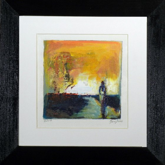 Small Framed Painting BJ07 Yellow Abstract art