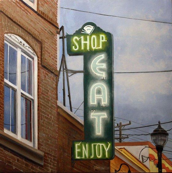 "Shop Eat Enjoy 16x16"" in 41x41 cm"