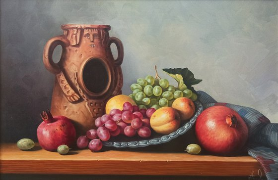 Still life with colorful fruits (40x60cm, oil painting, ready to hang)