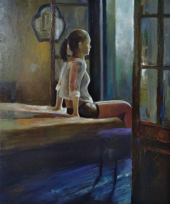 Young girl 60x50cm ,oil/canvas, impressionistic portrait