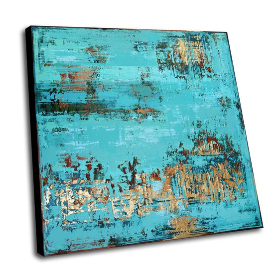 UNDER WATER - 120 X 120 CMS - ABSTRACT ACRYLIC PAINTING ON CANVAS * GOLD * TURQUOISE