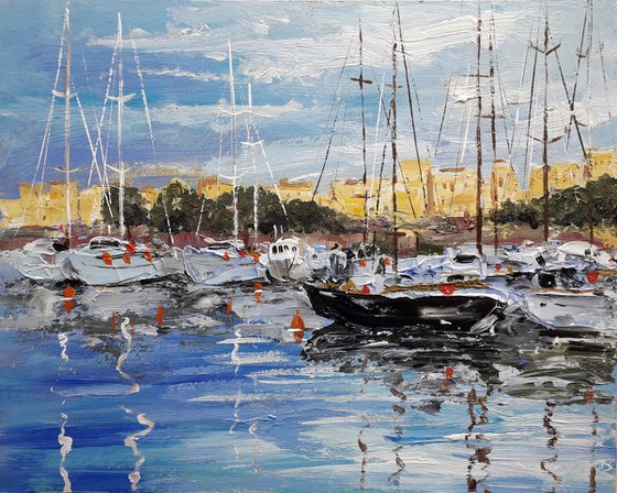 Yachts at the pier Painting with palette knife Original painting