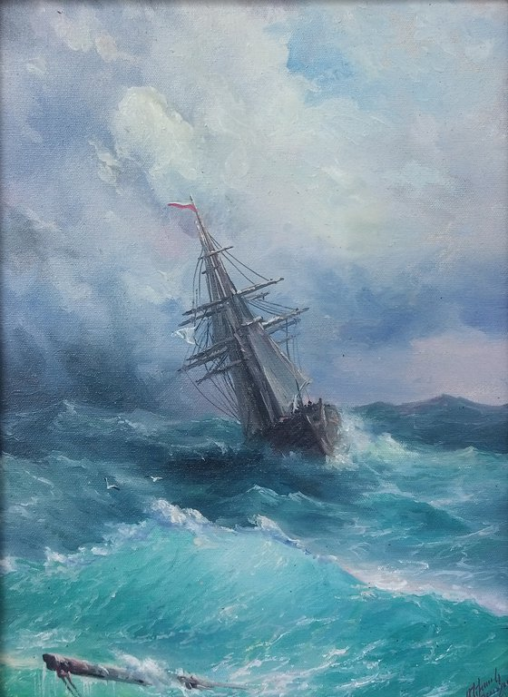 Inspired by Aivazovsky - Restless sea(30x40cm, oil painting)