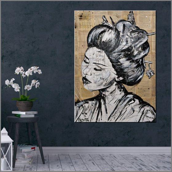 Geisha Study #3 75cm x 100cm Geisha Book Page Urban Pop Art